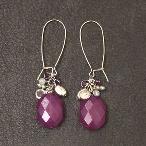 Torrid Faux Amethyst Crystal Gem Dangle Earrings